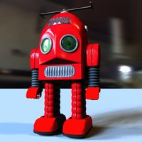 3d retro toy thunder robot model