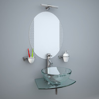 Glass wash-basin with accessories