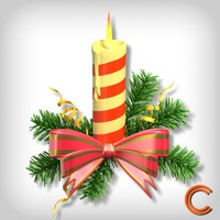 3d model decorated candle christmas