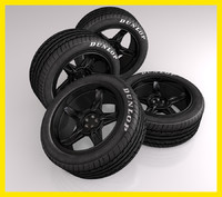 Car tire (tyre) with black sports rim wheel