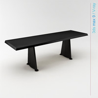 prouvé table furniture trapeze 3d model