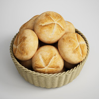 CGAxis 3D Model Basket of Buns