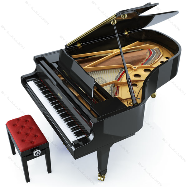 3d concert grand piano yamaha for How big is a grand piano