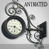 3d model street wall clock animation