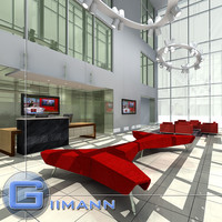 3D Office Reception Scene