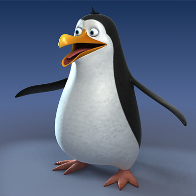 3ds max cartoon style penguin character