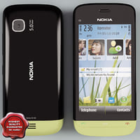 nokia c5-03 black-green 3d model