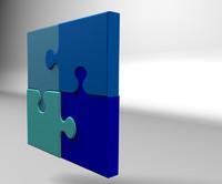 4 piece jigsaw c4d