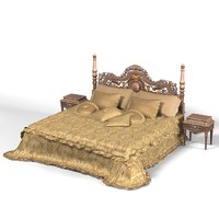 Jumbo Glamour Collection luxury baroque classic empire king size double bed wood carving high big set night stand sleep blanket pillows