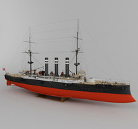 armored cruiser iwate japan 3d model