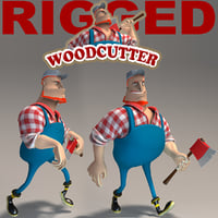 3ds max cartoon woodcutter rigged