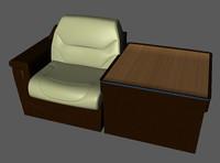 3d model business jet corner divan