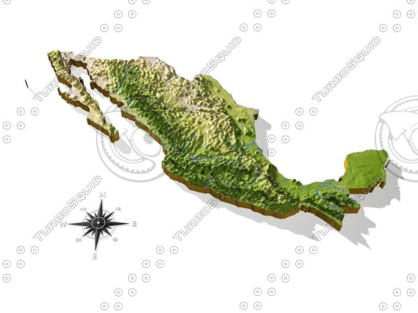 mexico resolution relief maps 3d model - Mexico, High resolution 3D relief maps... by AridOcean