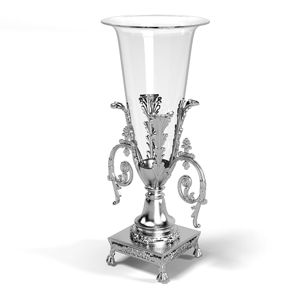 classic luxury flower vase chrome glass baroque .jpg