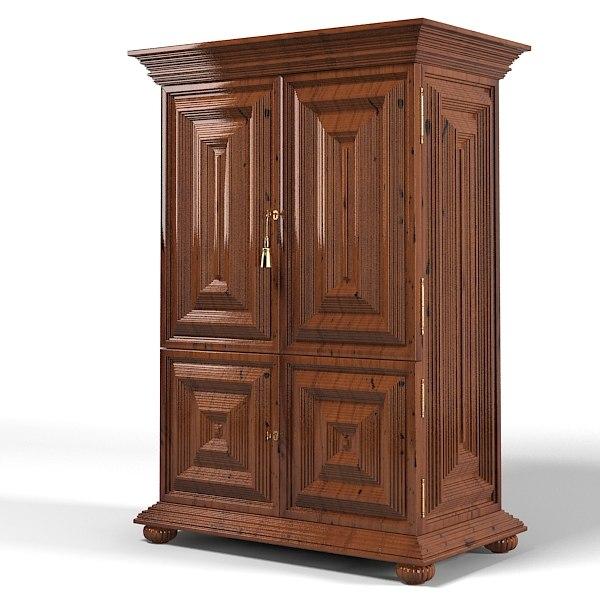 Quadrius Studio L XIV 5103 Classic Traditional Wardrobe Armoire Dresser  Cabinet Antique Aged
