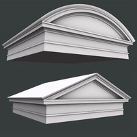 3d model of triangular roman tuscan pediment