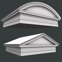 3d model of triangular roman tuscan pediment