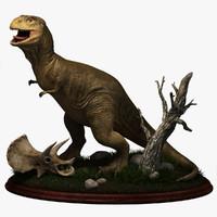 3d model of retro tyrannosaurus dinosaurs t-rex