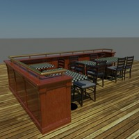 3d model sports bar balustrade furniture