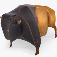 Buffalo bison copper statuette souvenir