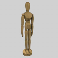 3d model wooden artist mannequin