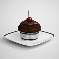 CGAxis 3D Model Chocolate Cupcake 15
