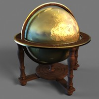 3d model globe v-ray wood