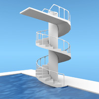 3d model swimming pool diving platform