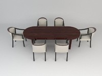 3d contemporary dining table chair model