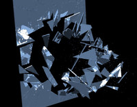 Breaking window glass (hard glass edges) animated