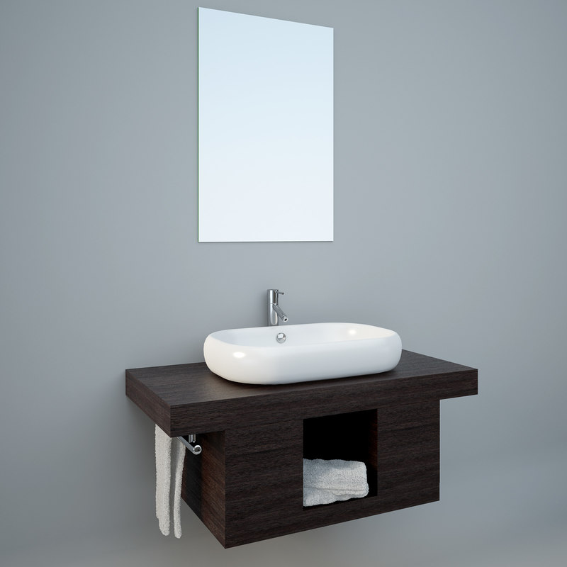 3d wall hung wash basin model