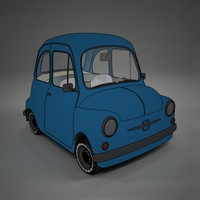 cartoon fiat 600 toon 3d model