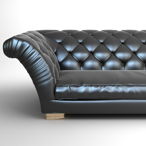 Tufted Sofa with Wing Arms