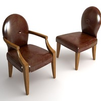 3d 2 leather chairs