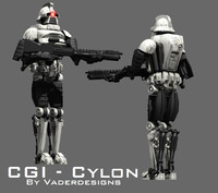 Cylon Fighter and Commander