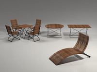 Garden Furniture Set - 3 tables, chairs, lounger