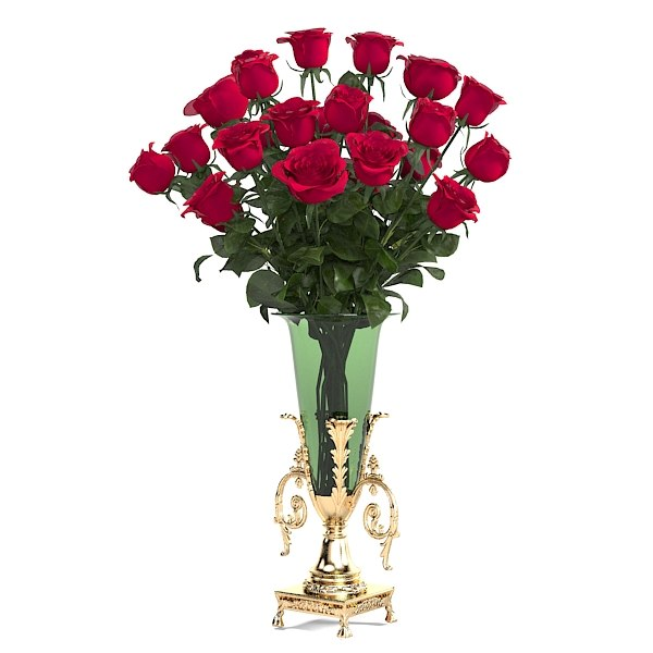 rose flower bouquet big vase  classic  golden glass decor home accesory decoration.jpg