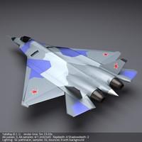 3d model sukhoi pak fa t50