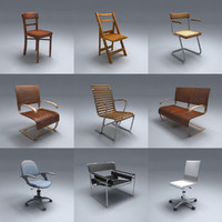 3d model 15 chairs