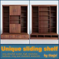 3d model unique sliding shelf