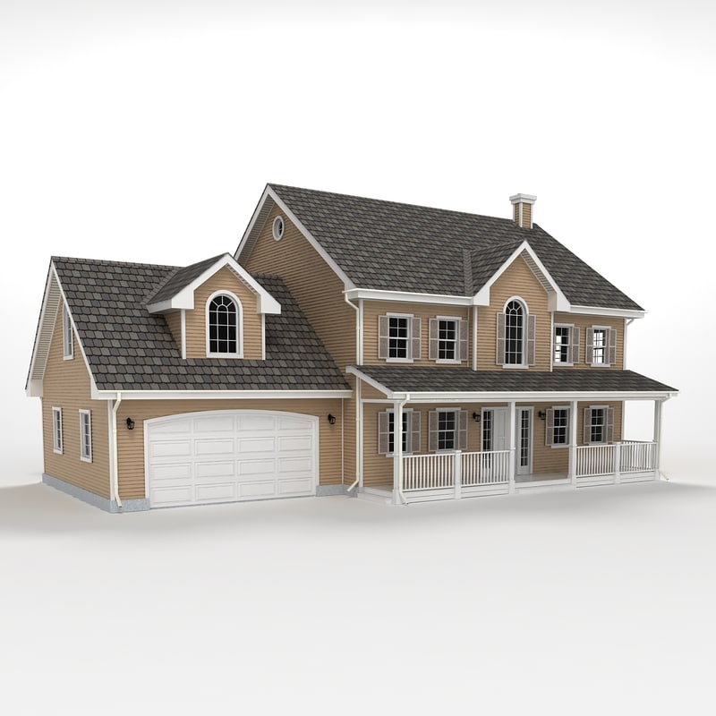 Two story cottage 3d model for Two story model homes