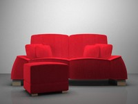 3d model love red seat