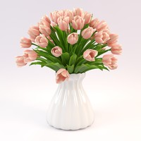 bouquet tulips 3d max