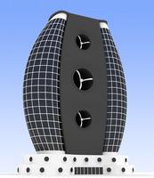 3d model building futuristic
