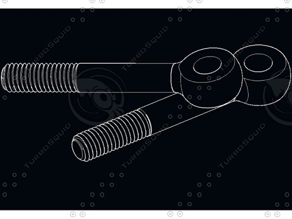 din 444 bolt swing 3d model - Swing Bolts DIN 444 M8 AutoCAD 2007 2010... by kapuravv