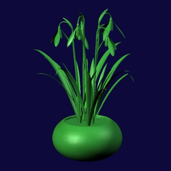 snowdrops flower pot pl 3ds - PL Snowdrops... by Kringle