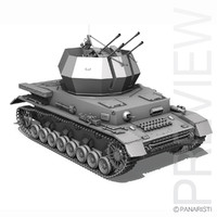 3d 3ds german flakpanzer - wirbelwind