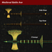 3d model medieval axe battle