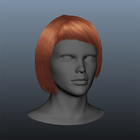 3d model punk female hair style