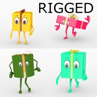 gift characters rigged 3d model